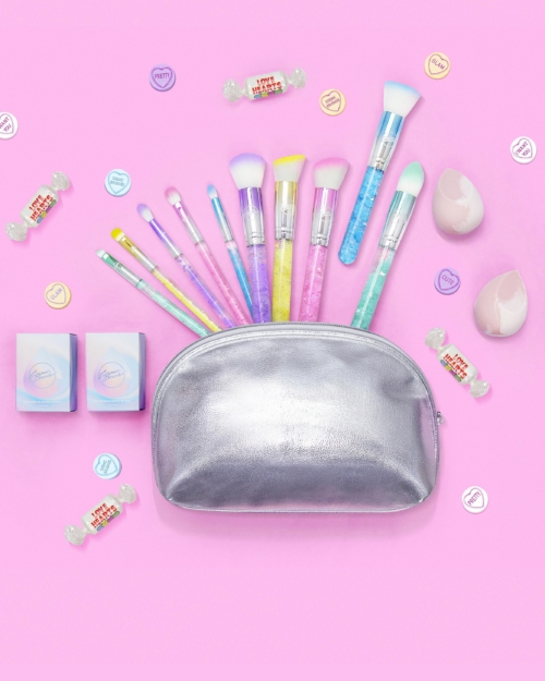 Pastel makeup brushes