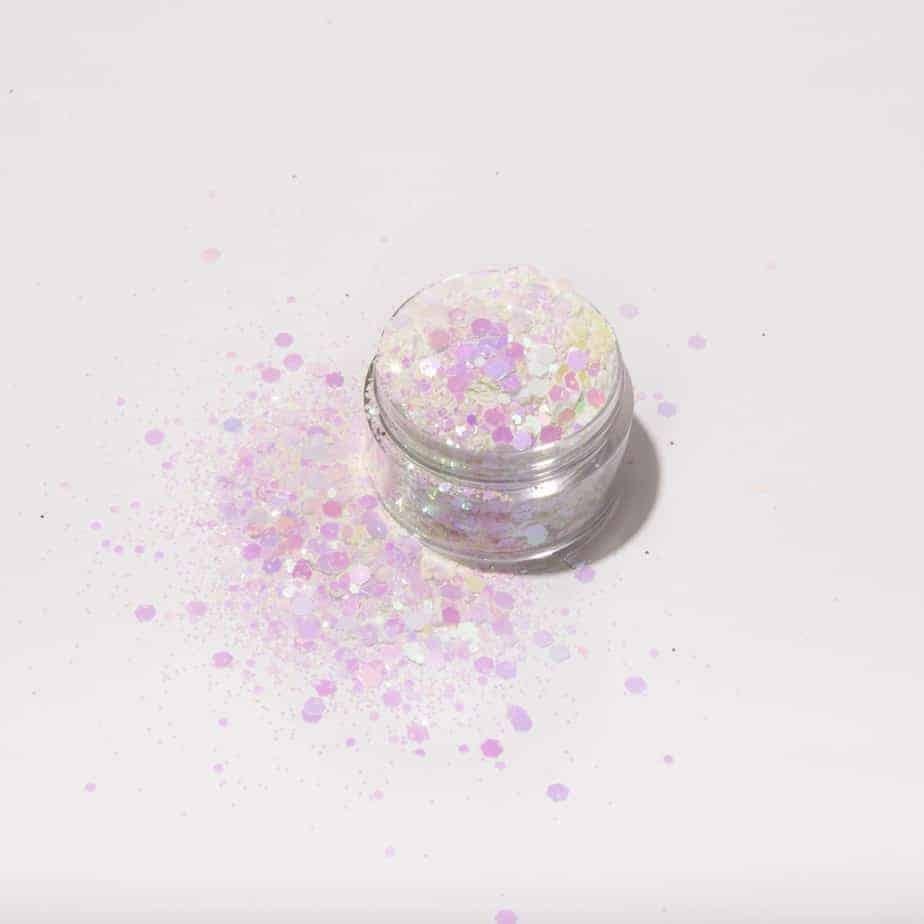 Pearl pink and white glitter